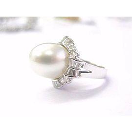 South Seas Pearl & Diamond Anniversary Ring 18KT White Gold 1.46Ct 13mm