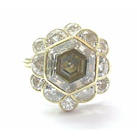 NATURAL Fancy Brown Octagonal Half Moons & Round Cut Diamond Ring 5.03Ct 18Kt YG