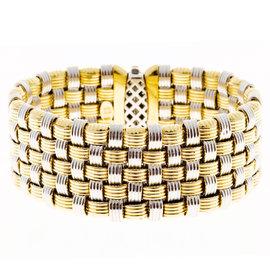 18K Yellow & White Gold with 0.15ct. Diamond Mesh Bracelet