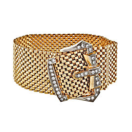 Vintage 14K Yellow Gold .80ctw Diamond Wide Mesh Buckle Bracelet