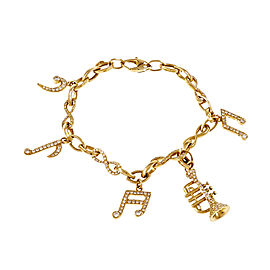 18k Yellow Gold Music Note & Instrument Diamond Bracelet