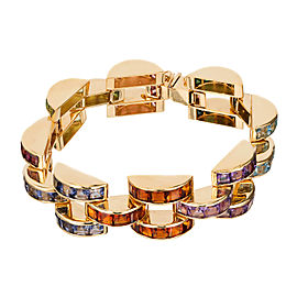 Crescent Link Yellow Gold 32.00ctw Multi-Color Stone Bracelet
