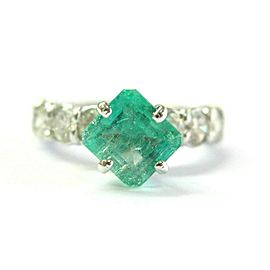 Colombian Green Emerald & Diamond Ring 18Kt White Gold 3.42Ct