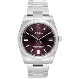 Rolex 116000 Oyster Perpetual 36 Men's Stainless Steel Red Grape 1 Year Warranty