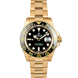 Rolex GMT Master II 116718 Men's Yellow Gold Automatic Black 1 Year Warranty