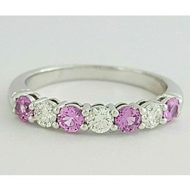 Tiffany & Co Embrace 3mm Shared Pink Sapphire Diamond Eternity $5090 wTax Sz 7