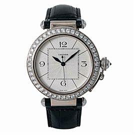 Cartier Pasha 2765 WJ120251 Unisex 18k White Gold Factory Diamond Bezel 42mm