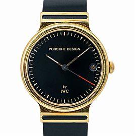 IWC Porsche Design IW3320 Quartz Unisex Watch 18k Yellow Gold Black Dial 32mm