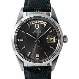 Tudor Vintage Prince Date-Day 7017/0 Men Automatic Grey Dial Watch Steel 37mm