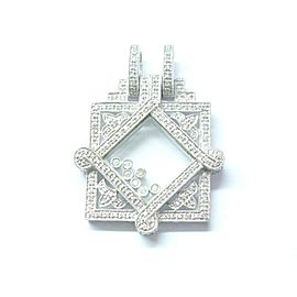 "Floating Diamond Pendant Solid 14Kt White Gold G-VS2 1.16Ct 2"" Milgrain Design"
