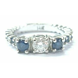 Three Stone Diamond Sapphire Solid White Gold Engagement Ring 14Kt 1.32Ct GIA