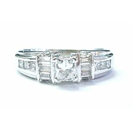 18Kt Princess & Baguette Diamond White Gold Engagement Ring .88CT