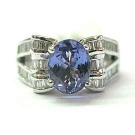 Natural Oval Tanzanite & Baguette Diamond White Gold Split Shank Ring 2.85Ct