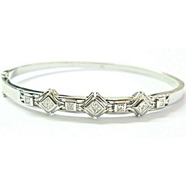 Princess Cut Diamond Bangle 18Kt White Gold Seven Stones Bezel Set Bangle .94Ct