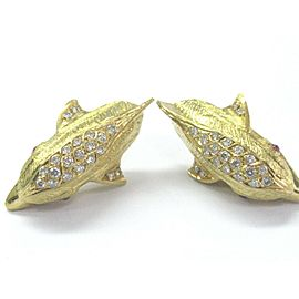 NATURAL 18Kt MARAMENOS PATERAS Gem Ruby Diamond Dolphin YG Earrings 2.42Ct