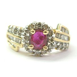 Oval Ruby & Multi Shape Diamond Ring 14Kt Yellow Gold 1.19Ct SIZEABLE