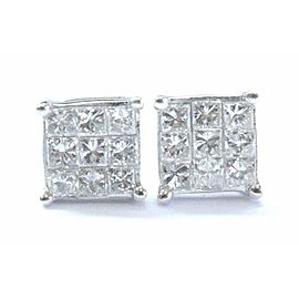 Platinum Princess Cut Diamond Invisible Set Square Stud Earrings 1.08Ct