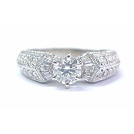 Fine Round & Baguette Diamond Engagement White Gold Ring 14Kt EGL USA 1.03Ct