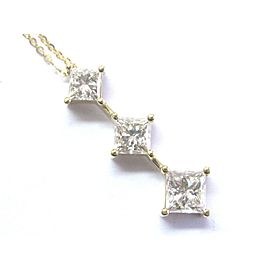 "Natural Princess Cut Diamond 3-Stone Pendant Necklace 18KT Yellow Gold 18"" 2.03C"