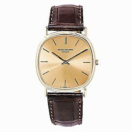 Patek Philippe 3862 Automatic Mens 18K Yellow Gold Watch Leather Band 32mm