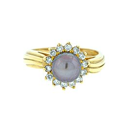 14k Yellow Gold Diamond and Black Pearl Gold Ring