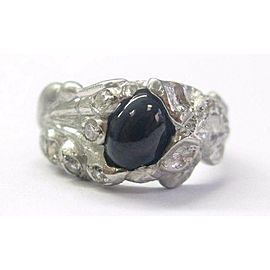 Vintage Platinum Gem Blue Sapphire Diamond Solitaire W Accents Ring 1.50CT