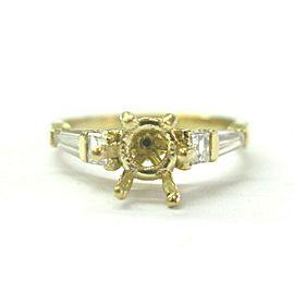 Diamond Semi Mount Ring Baguette & Asscher Cut ( center fits a Round 5mm ) .40Ct