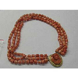 """Hand Carved Coral Cab Gold Necklace 14Kt Yellow Gold Clasp 17"""""""