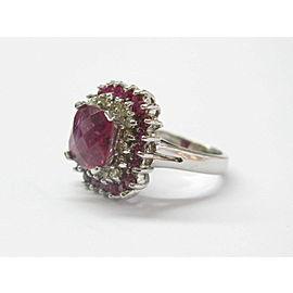 Pink Tourmaline & Diamond Ring 14Kt White Gold 3.27Ct SIZEABLE