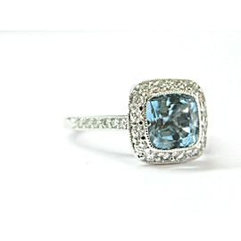 Tiffany & Co Platinum Legacy Aquamarine & Diamond Ring 1.78CT