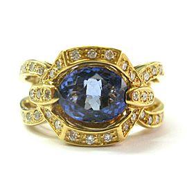 18Kt Natural Oval Tanzanite & Diamond Yellow Gold Split Shank Ring 3.40Ct