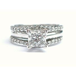 Fine Princess & Round Cut Diamond Engagement Set White Gold 1.13CT