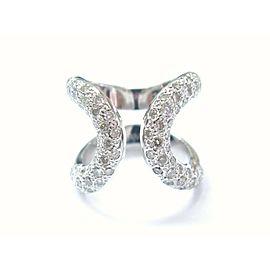 Hermes 18Kt Lima Pave Diamond White Gold Ring 1.80CT SZ 55