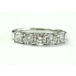 Five Stone Round Diamond Band Ring Platinum 950 1.00Ct F-VS2 3.9mm