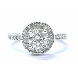 Round Diamond White Gold Milgrain Engagement Ring Solid 14Kt I/SI1 .83Ct