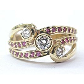 Fine Ruby & Diamond 3-Row Yellow Gold Wide Ring .80Ct 10.5mm