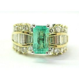 Natural Colombian Green Emerald Multi Shape Diamond Yellow Gold Ring 3.70Ct 18KT