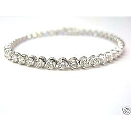 SOLID 18Kt NATURAL Round Cut Diamond White Gold Tennis Bracelet 7.15Ct