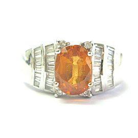 Mandarin Garnet & Diamond Ring 18Kt White Gold 2.55Ct+ 1.10Ct