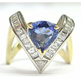 Natural Trillion Tanzanite & Diamond Yellow Gold Trillion Shape Ring 18Kt 2.96Ct