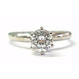 Fine Round Cut Diamond Solitaire Ring White Gold 14K 0.75Ct EGL