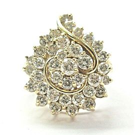 Natural Round Cut Diamond Solid Yellow Gold Cluster Jewelry Ring 2.50Ct 37-Stone
