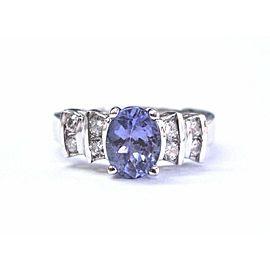 Fine Oval Gem Tanzanite & Diamond White Gold Anniversary Ring 14Kt 1.79Ct