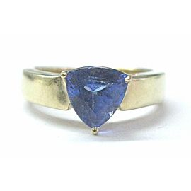 Trillion Tanzanite Solitaire Ring Solid 14Kt Yellow Gold AAAA-VS 2.00Ct SIZEABLE