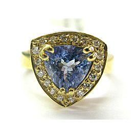 18Kt Natural Trillion Tanzanite & Diamond Yellow Gold Ring 2.15Ct