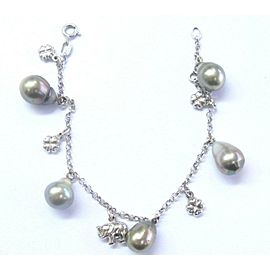 Natural Black Pearl White Gold Charm Bracelet 18Kt 5mm -10mm 7""