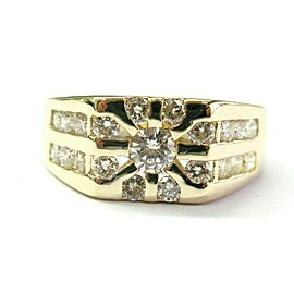 Men's Round Diamond Ring 14Kt Yellow Gold 1.33Ct G-VS2 SIZEABLE