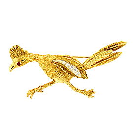 Herbert Rosenthal Road Runner Pin Brooch Diamond Ruby 18k Yellow Gold RARE