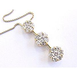 Fine Round Cut Diamond Past Present Future Cluster Pendant Necklace 1.00Ct 14Kt