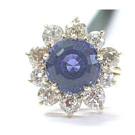 Round Tanzanite & Old Mine Cut Diamonds Yellow Gold Jewelry Ring 10.05CT AAAA/VS